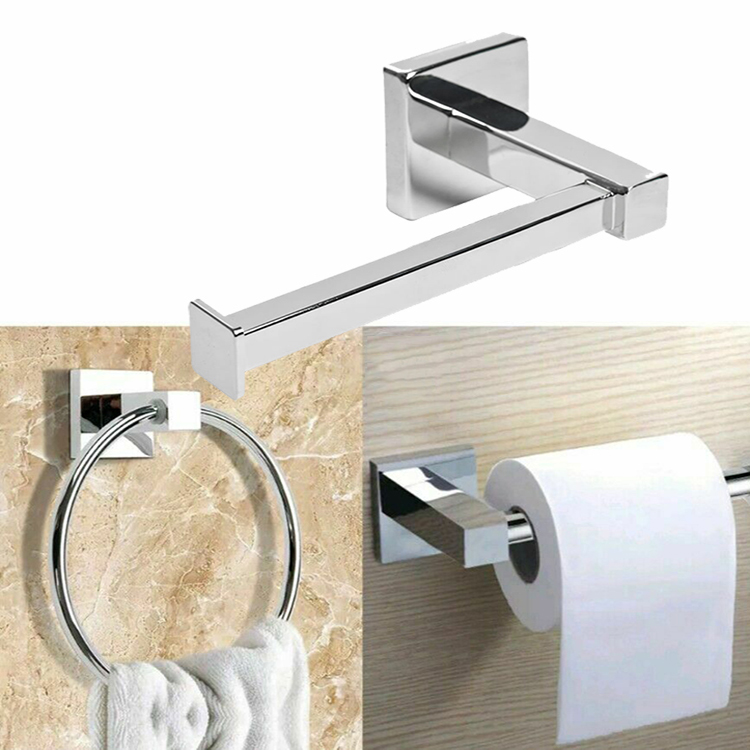 Polished Chrome Bathroom Toilet Roll Holder Amp Towel Ring